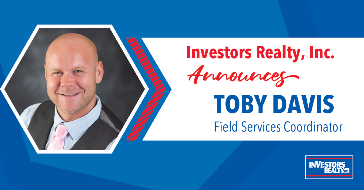 Investors Realty Announces Toby Davis, Field Services Coordinator