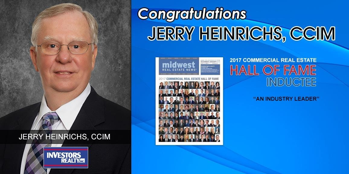 Jerry Heinrichs, CCIM Enters the 2017 Midwest Commercial Real Estate Hall of Fame